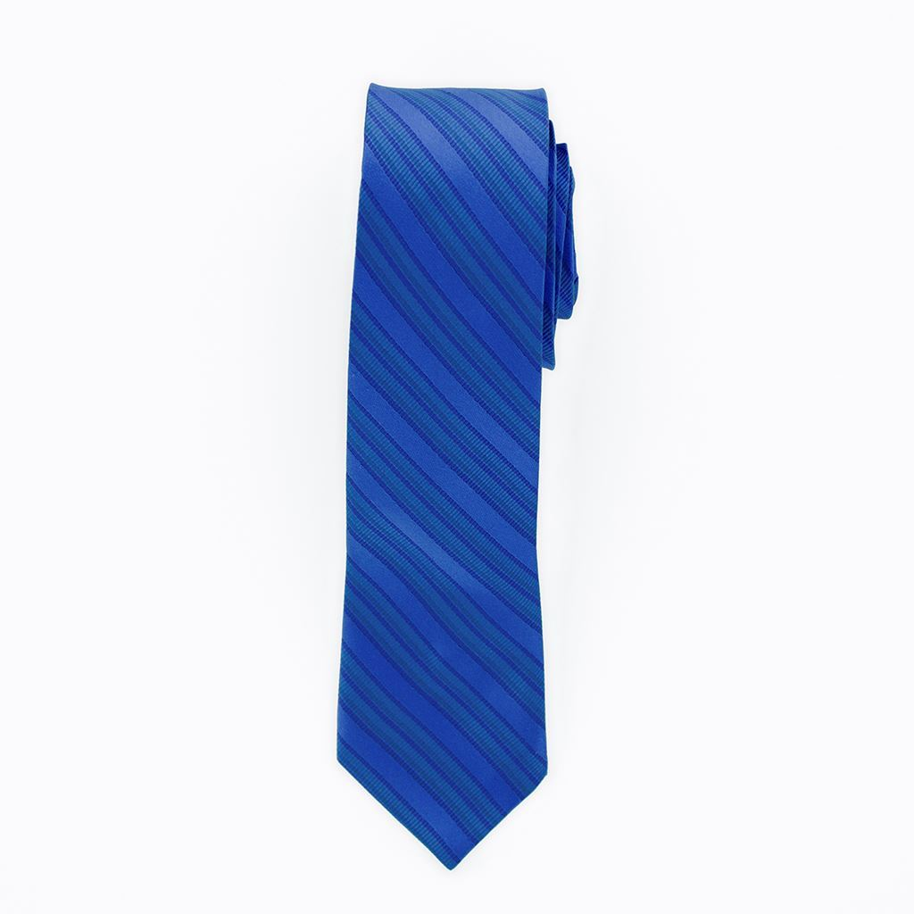 Royal Blue Striped Long Tie