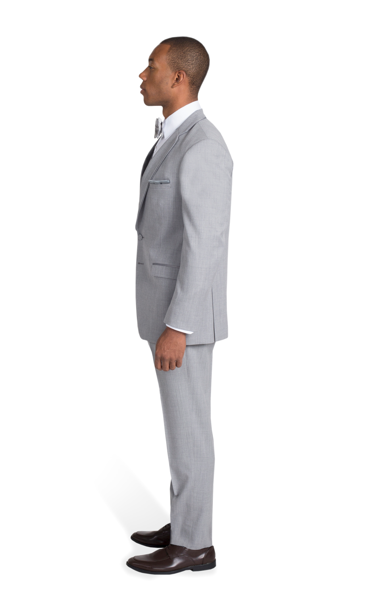 Heather Grey Notch Lapel Suit - Right Side View