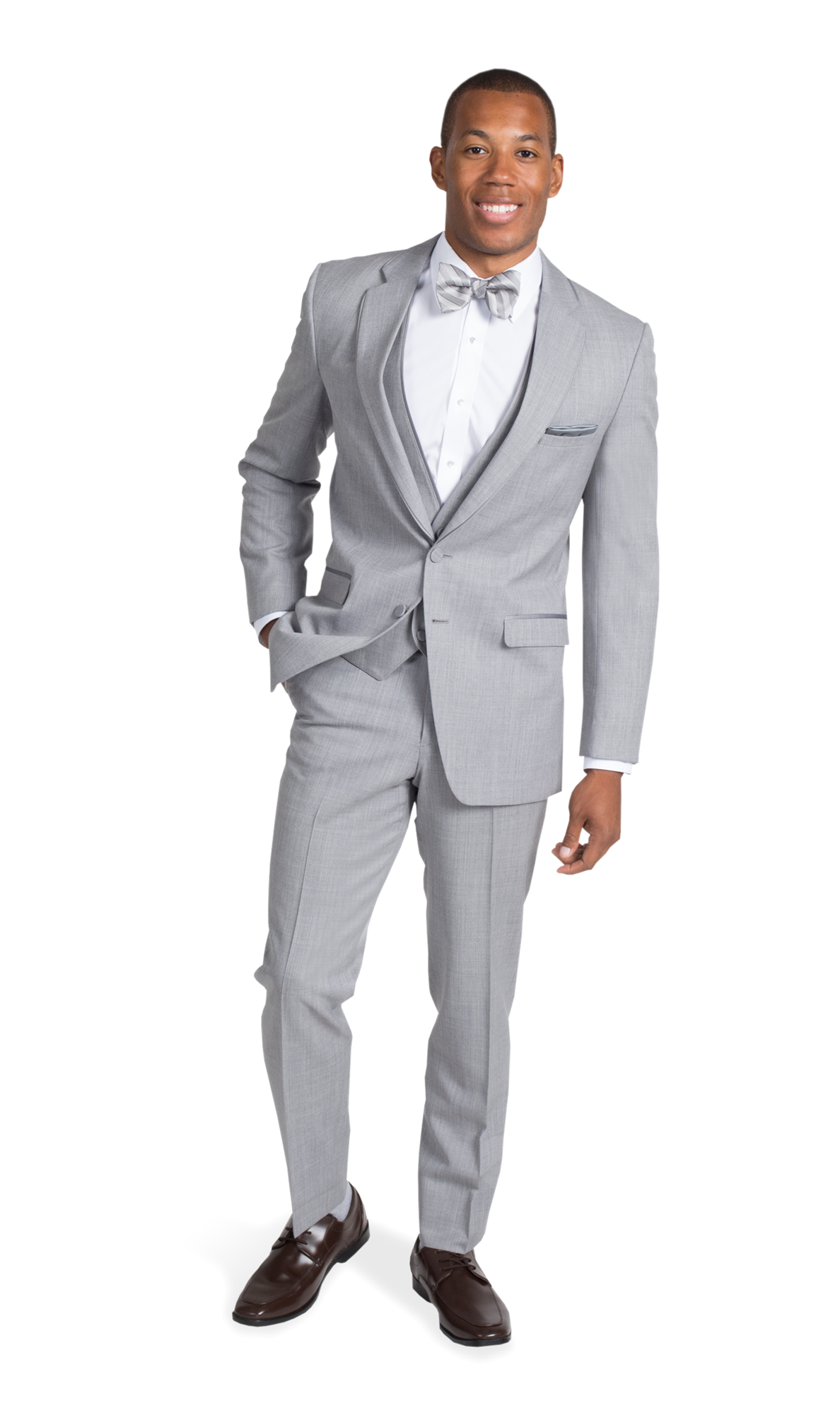 Heather Grey Notch Lapel Suit - Front Posed View