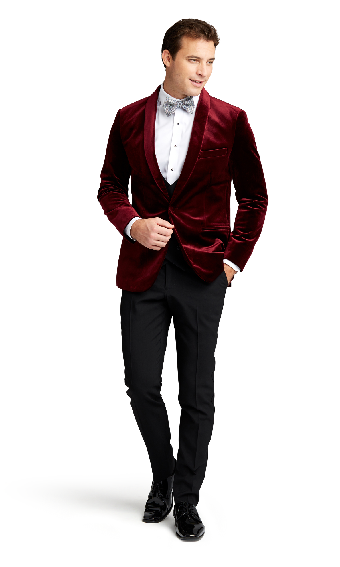 Burgundy Velvet Brooklyn Tuxedo Online Rental 1